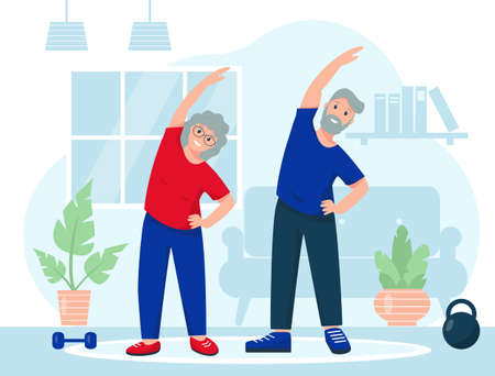 Happy elderly couple sports at home. Fitness training exercises, healthy lifestyle or sport online concept. Vector illustration in flat style.