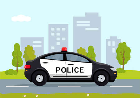 Black Police car in the city. Cop, police officer auto, policeman patrol automobile. Vector illustration.  イラスト・ベクター素材