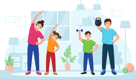 Happy family doing sport exercises at home. Fitness training online or healthy lifestyle concept. Sports parents and children in room. Vector illustration in flat style.