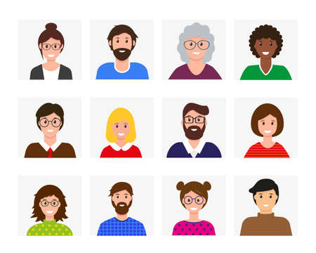 Smiling men and women avatars collection. Different happy faces. People in bright clothing. Isolated vector icons illustration.