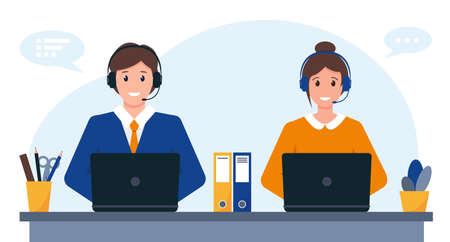 Young man and woman with headphones, microphone and computer. Customer service, support or call center concept. Vector illustration.  イラスト・ベクター素材