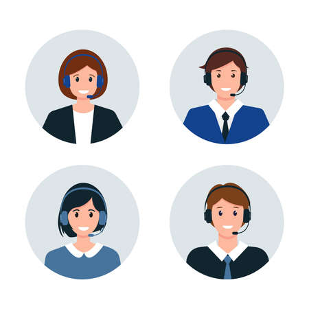 Call center or Customer Service avatars. Male and female characters in headphones. Help, Support and Contact service icons vector illustration.