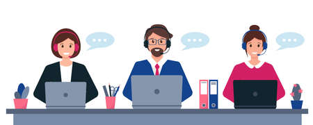 Customer service, support or call center concept. Young man and women with headphones, microphone and computer. Vector illustration.