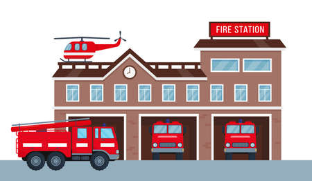 Fire station building exterior with fire engine trucks and helicopter. Fire department house facade and red emergency vehicle. Vector illustration isolated on white background.