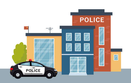 Police station building exterior with police car. City police department house facade and vehicle. Vector illustration isolated on white background.