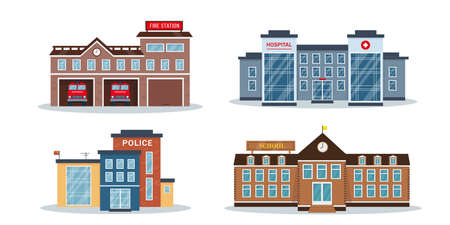 City buildings exterior collection. Vector illustrations isolated on white background. Facades of fire station, police station, hospital or clinic and school or colledge.
