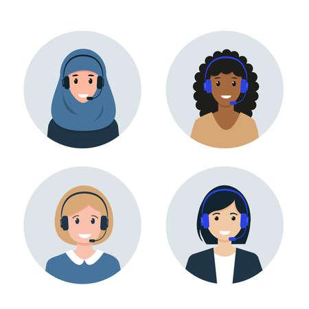 Call center or Customer Service female avatars.
