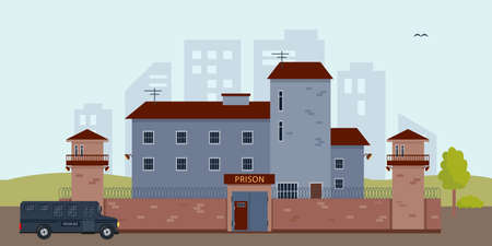 Prison building and bus near city houses.  イラスト・ベクター素材