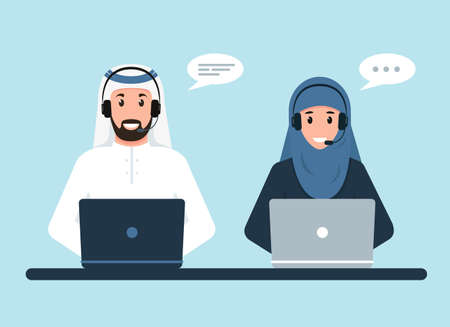 Arab man and woman with headphones and computers.