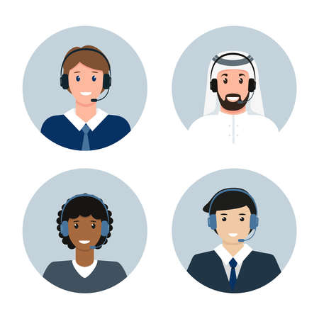 Call center male avatars of different nationalities
