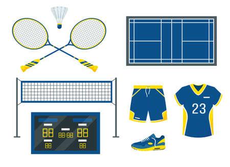 Badminton set. Sport equipment and accessories.