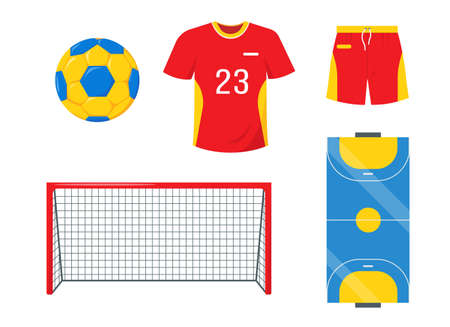 Ball, gate, clothing and court for playing handball.