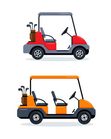 Golf carts with two and four seats.