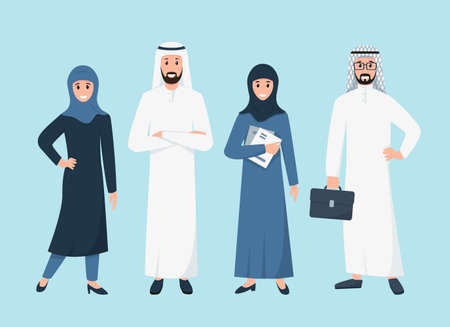 Business arabic people in traditional islamic clothes.  イラスト・ベクター素材