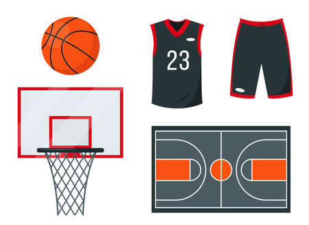 Basketball set of Sport equipment and accessories.  イラスト・ベクター素材