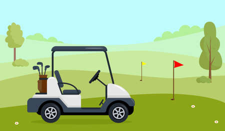 Golf cart on green field with grass, trees and flags
