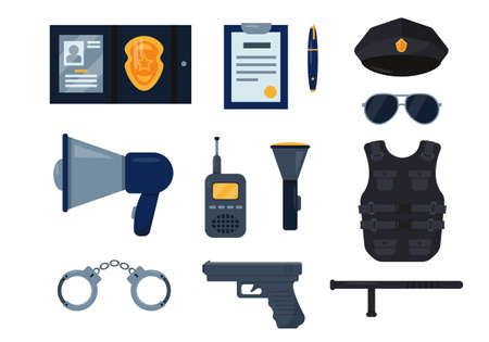 Police officer equipment set. Elements for policemen