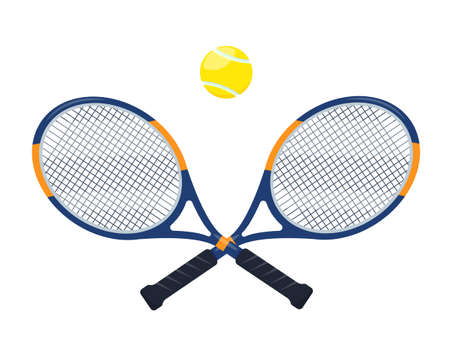 Tennis rackets and ball isolated on white background.