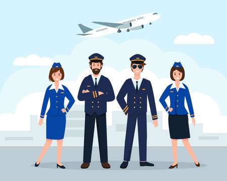 Airplane staff or crew at the airport. Aircraft captain, pilot assistant and stewardesses in uniform. Professional Team of smiling airline workers characters isolated on white background. Vector Illustration