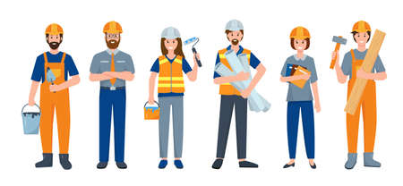 Set of Builder people or Construction Worker isolated on white background. Industry engineer employee characters in different poses in uniform with work tools. Flat cartoon vector illustration. Vetores