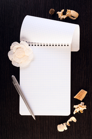 wenge: Notebook,  pen and dried flowers on a wooden table. Place for text. Square image. Stock Photo