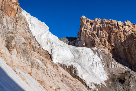 icefall: Outdoor landscape Fann Mountains, Pamir. Mountain ridge and the glacier icefall