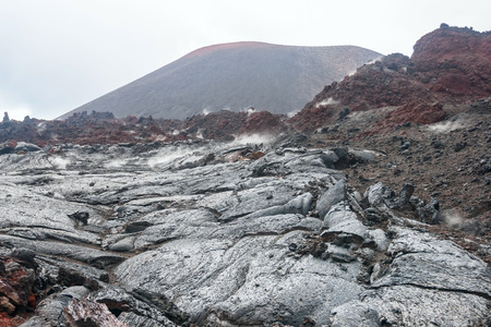 lava field: lava field and volcano on Kamchatka Stock Photo