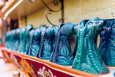 bazaar: Turkish ceramics in the Grand Bazaar in Istanbul, Turkey.