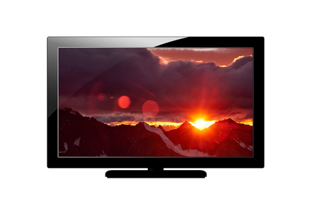 Modern blank flat screen plazma TV set. Isolated on white background. screen with Image of mountains