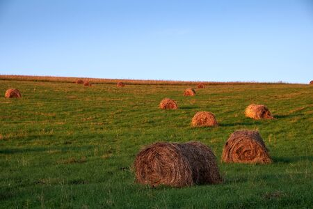 evening over farm field with hay bales.