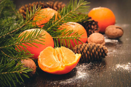 tangerines: Tangerines on wooden background.