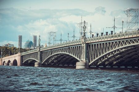 neva: Trinity bridge Saint Petersburg, view from Neva river Stock Photo