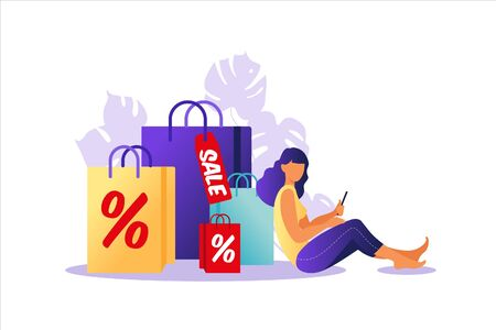 Young woman sitting with paper bags. Concept of online and offline shopping, sale, discount. Vector illustration for web banner, infographics, mobile. Illustration in flat style.