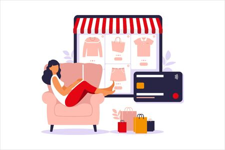 Woman shopping online on laptop. Vector illustration. Online store payment. Bank credit cards. Digital pay technology. E-paying. Flat style modern vector illustration. Illusztráció