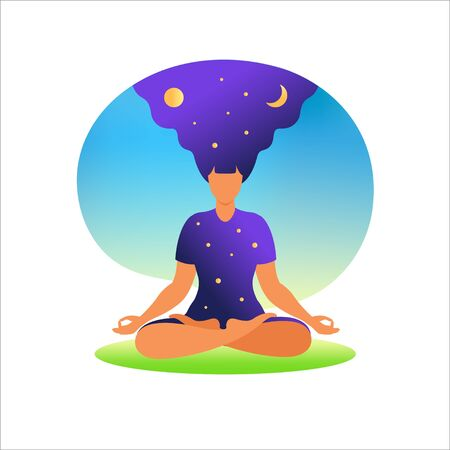 Woman meditating with nature background and her hair up. Meditation concept. Woman sitting in lotus position practicing meditation. in lotus pose. Vector illustration in flat style.
