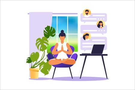 Concept freelancer woman practicing yoga and meditation on home. The girl sits in the lotus position, the thought process, the inception and the search for ideas. Time management. Vector illustration.