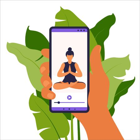 Yoga online concept. Woman doing yoga exercise at home with online instructor on mobile phone. Wellness and healthy lifestyle at home. Woman doing yoga exercises. Vector illustration. Vectores