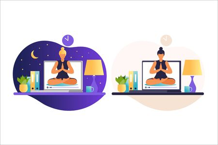 Woman doing yoga exercises. Internet yoga courses concept. Wellness and healthy lifestyle at home. Yoga classes with an online trainer. Woman teaches classes remotely. Vector illustration in flat. Vectores