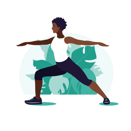 African woman exercising in the park. Outdoor sports. Healthy lifestyle and fitness concept. Vector illustration in flat style.