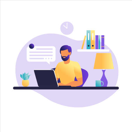 Man sitting table with laptop. Working on a computer. Freelance, online education or social media concept. Freelance or studying concept. Flat style. Vector illustration isolated on white.
