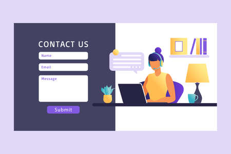 Contact Us Form Template for Web. Female Customer Service Agent with Headset Talking with Client. Landing Page. Online Customer Support . Vector Illustration.