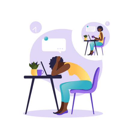 Professional burnout syndrome. Illustration with happy and tired african american female office worker sitting at the table. Frustrated worker, mental health problems. Vector illustration in flat.