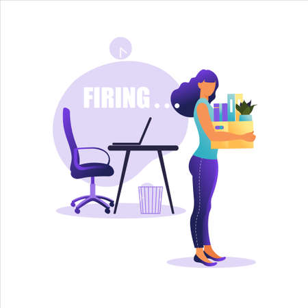 Vector illustration of firing employee. Woman standing with offices box with things. Unemployment concept, crisis, jobless and employee job reduction. Job loss. Ilustración de vector