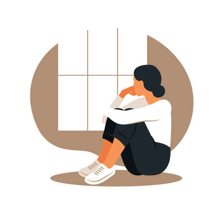 Woman in depression with bewildered thoughts in her mind. Young sad girl sitting in window and hugging her knees. Flat style Vecteurs