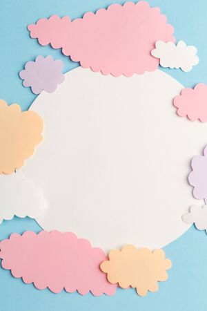 beautiful blue background with white circle and light clouds of paper Imagens
