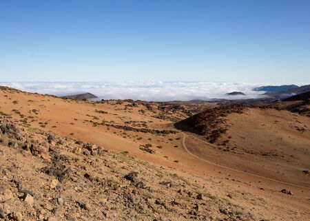 climbing the teide volcano landscape from above, road to the top