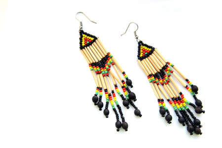 Bright multi-coloured ethno earrings made of beads and wood (handmade)