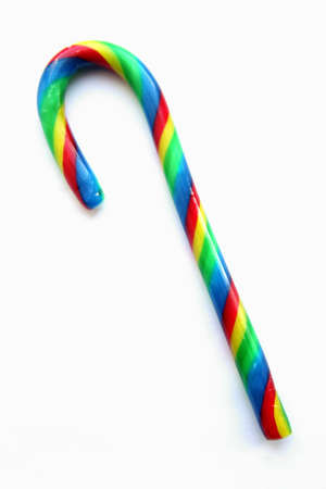 Striped sugar candy in the form of a cane