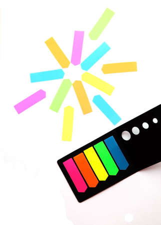 Sun from stickers and a set of stickers-bookmarks on white background Stock Photo