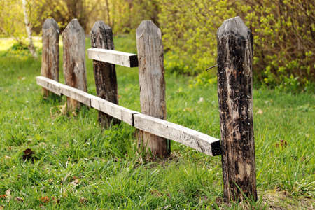 Rests of an old wooden fence